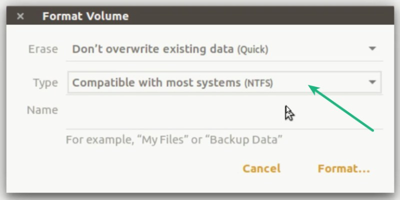 Format in NTF mode to create bootable WIndows 10 USB in Linux