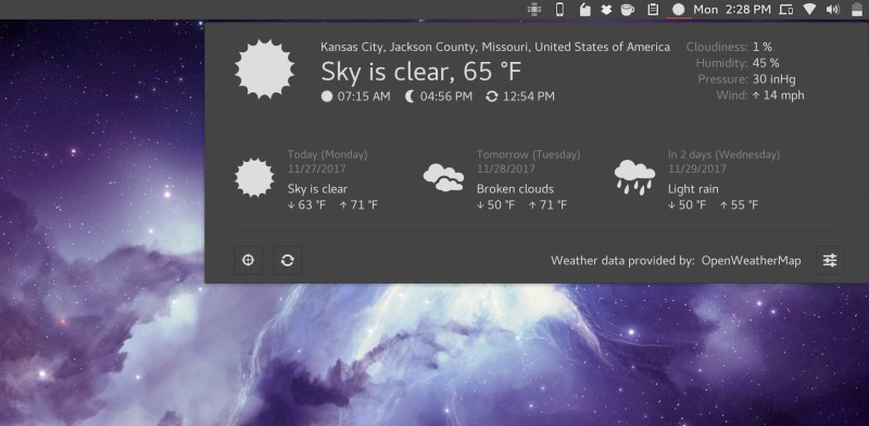Weather extension in GNOME