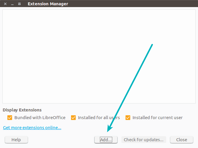 Install new extensions in LibreOffice
