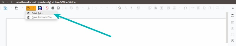 Save as option in LibreOffice