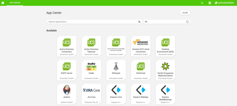 Univention App Center Available Apps