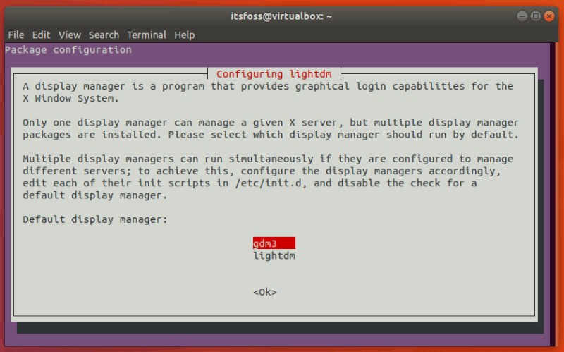 Choose display manager while installing Xfce on Ubuntu