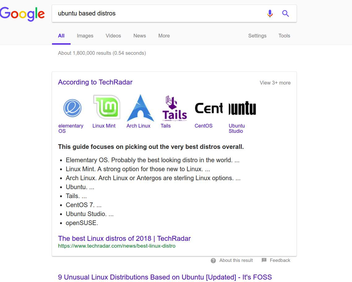 Google thinks Arch Linux is based on Ubuntu