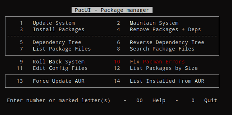 PacUI in Arch Linux