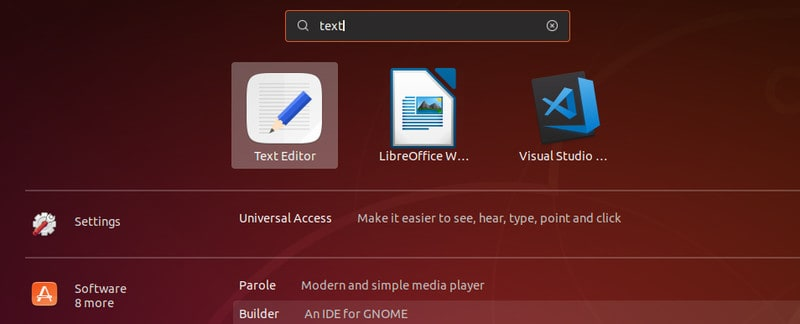 Text editor in Ubuntu 18.04