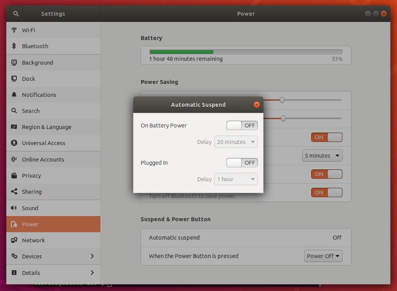 Disable automatic suspend in Ubuntu 18.04