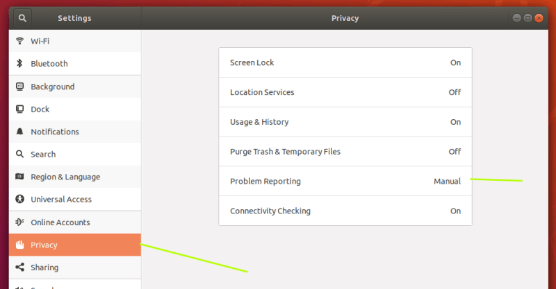 Privacy settings in Ubuntu 18.04