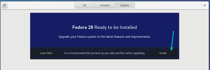 Upgrade Fedora version