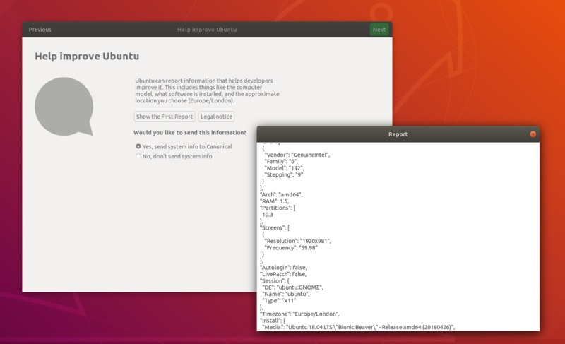Ubuntu Data Collection at Welcome Screen