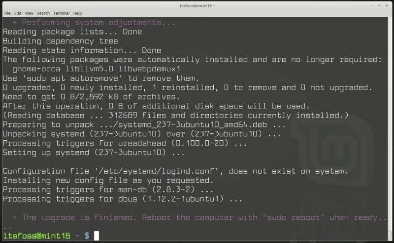 Upgrade to Linux Mint 19