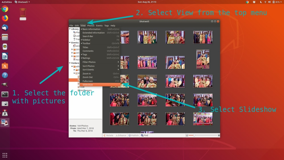 How to create slideshow of photos in Ubuntu Linux
