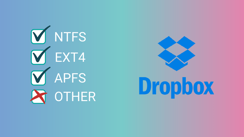 Dropbox ends support for various file system types