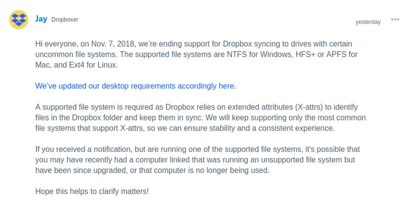 Dropbox official confirmation over limitation on supported file systems