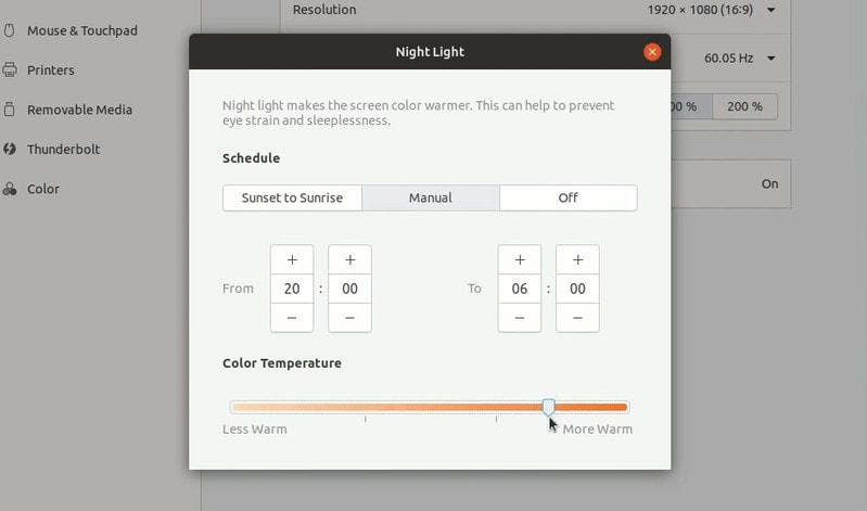 Nightlight control in Ubuntu 19.04