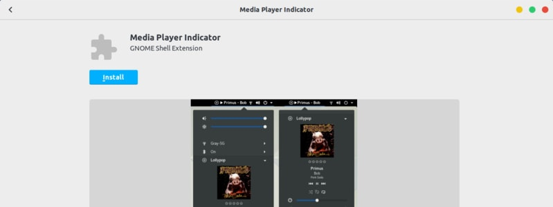 Media Player Indicator GNOME Extension