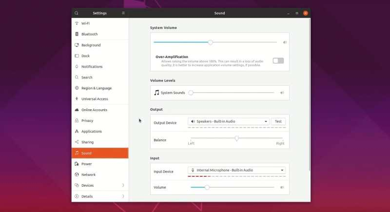 New sound setting in Ubuntu 19.04