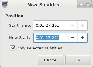 Move subtitles using Subtitle Editor in Linux