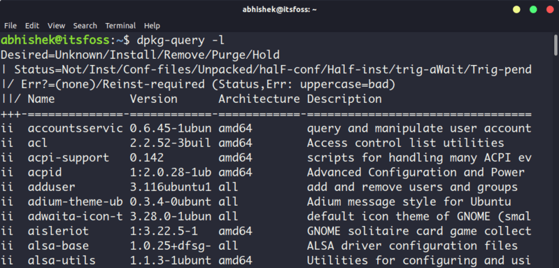 Listing installed packages with dpkg command