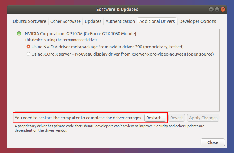 software & updates additional drivers install successful