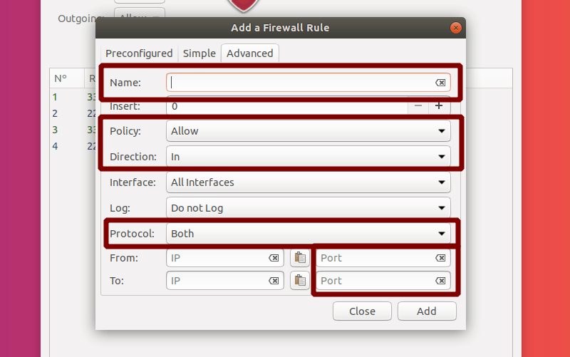 Select Name, Policy, Direction, Protocol, Ports for an Advanced Rule in GUFW