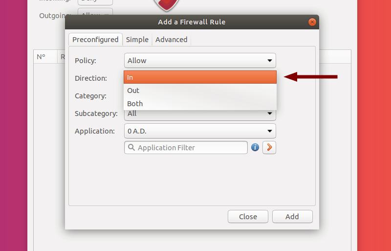 Select Direction of a Preconfigured Rule in GUFW