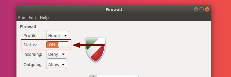 Toggle Status On/Off in GUFW