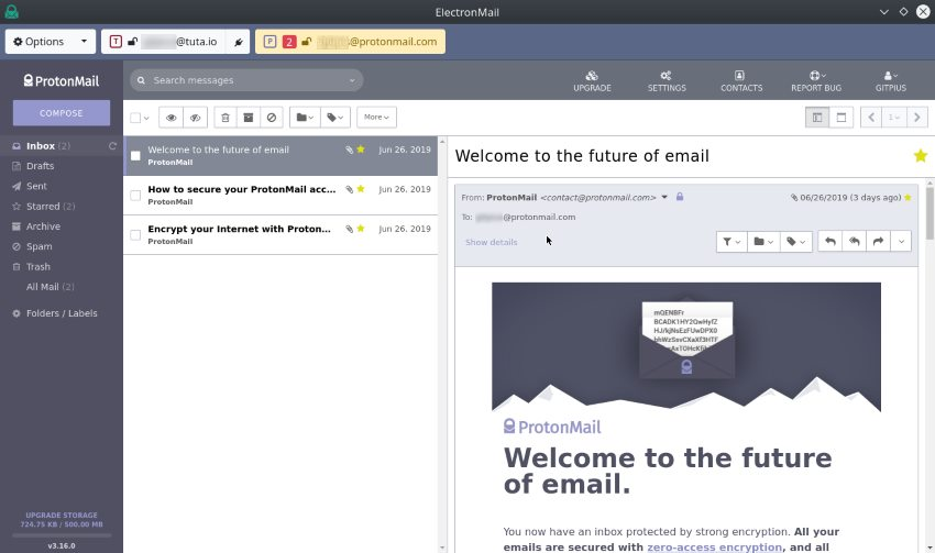 Electron Mail Inbox