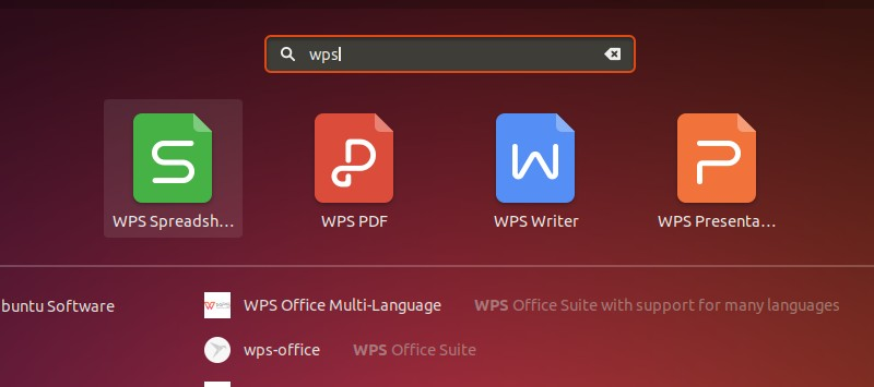 WPS Applications Menu