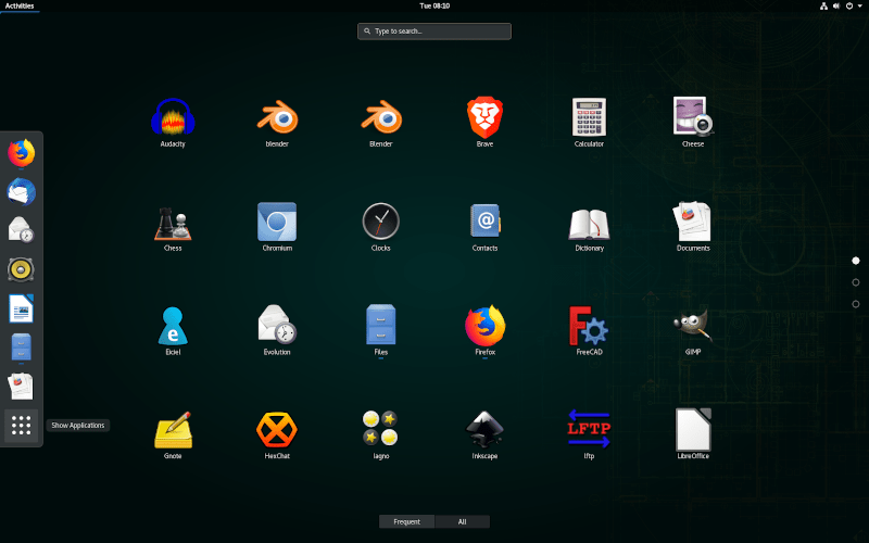 Screenshot do GNOME do Opensuse 15.1