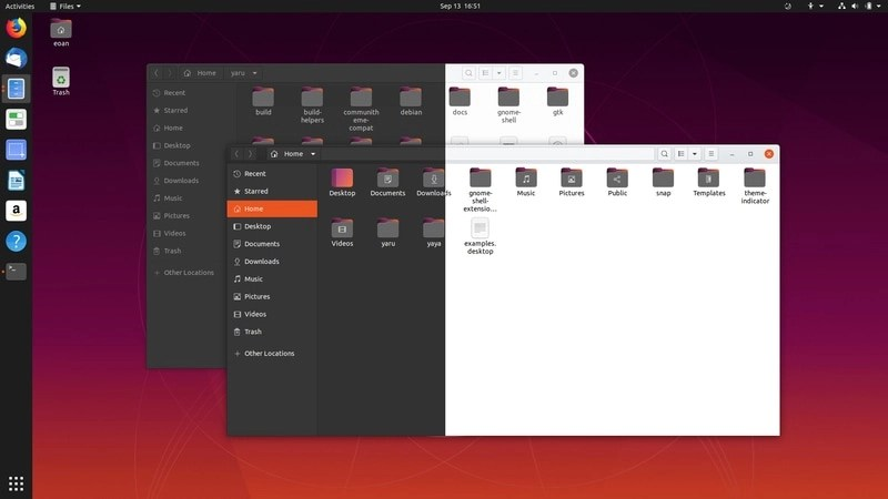 Tema Ubuntu Yaru Light Dark