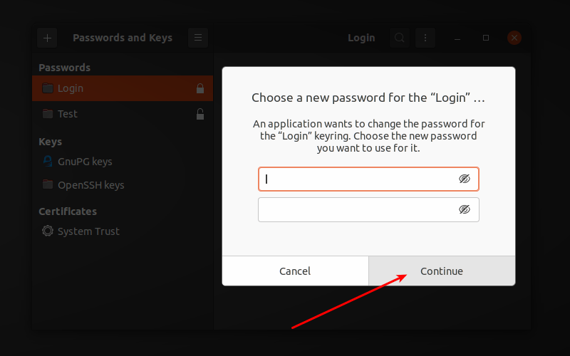 Disable Keyring Password Ubuntu