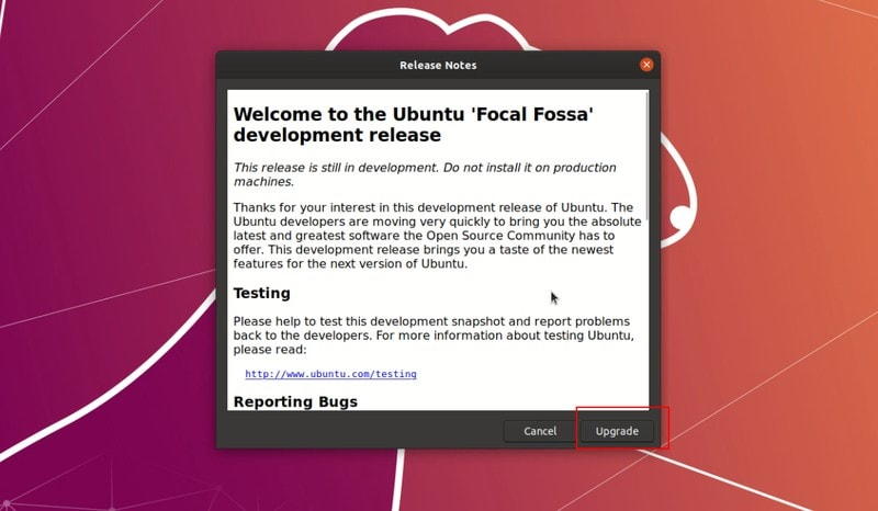 Welcome message for Upgrading to Ubuntu 20.04 beta