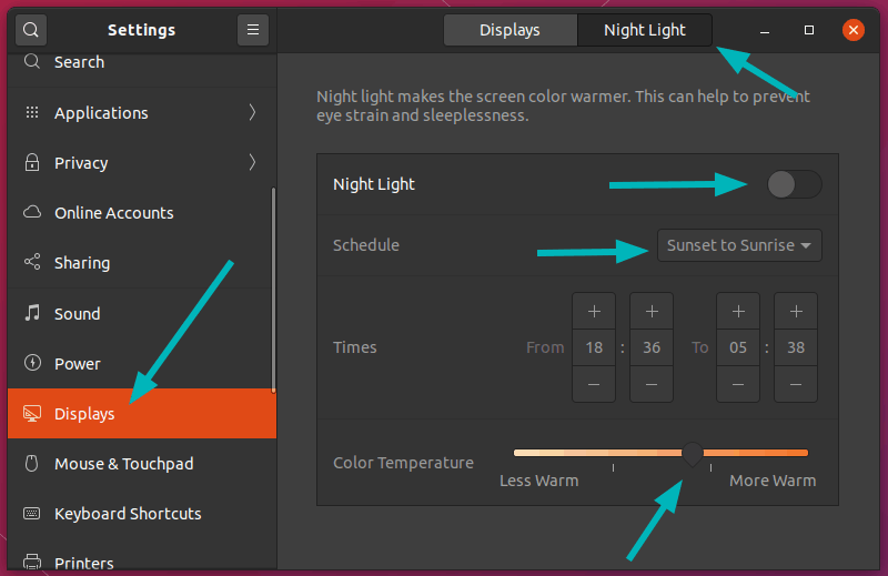 Nightlight in Ubuntu 20.04