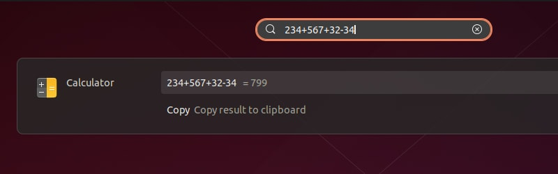 Quick Calculations Ubuntu Search