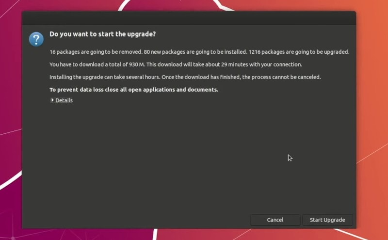 Start Upgrade to Ubuntu 20.04 Focal Fossa