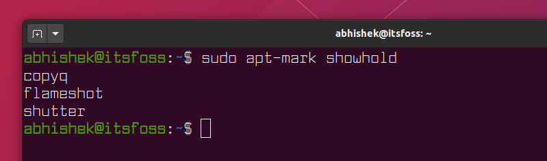 show all hold packages in Ubuntu using apt-mark