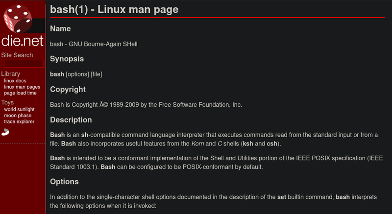 Bash Linux Man Page