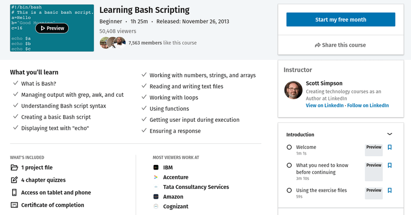 Learn Bash Scripting Linkedin