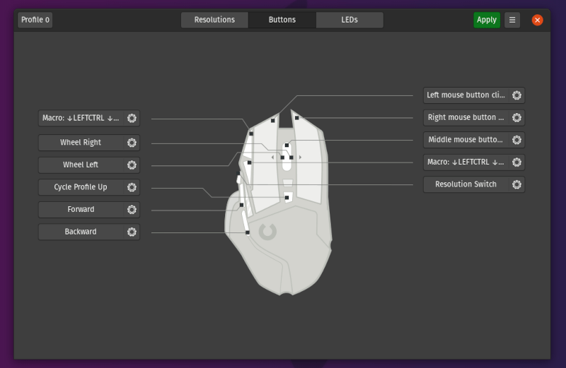 Configure gaming mouse buttons in Linux with Piper
