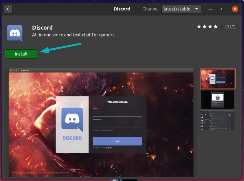 Install Discord in Snap format from Ubuntu Software Center