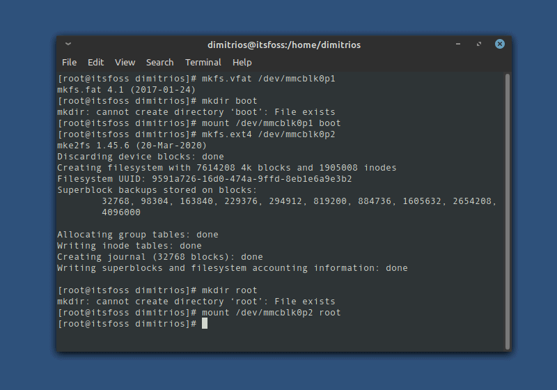 Making filesystem on the sd card for installing Arch Linux on it