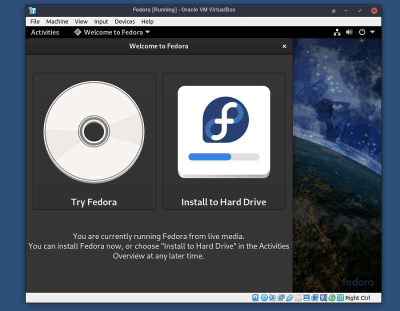 Installing Fedora in VirtualBox