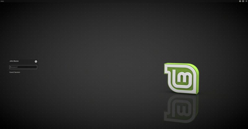 Linux Mint Login Screen