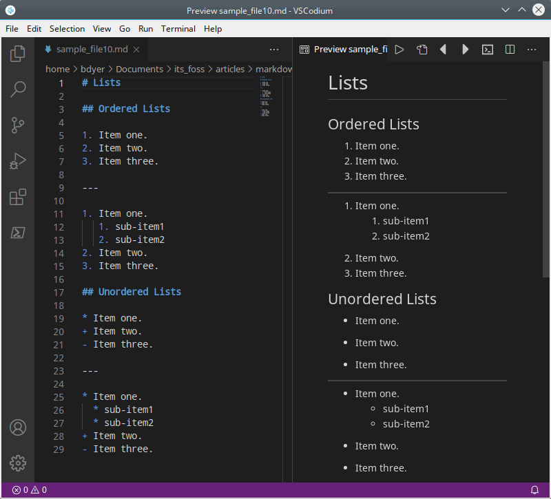 Ordered and unordered lists in Markdown