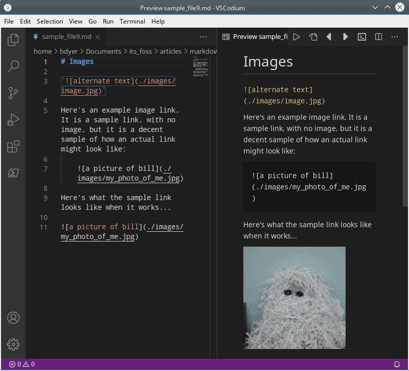 Adding images in Markdown
