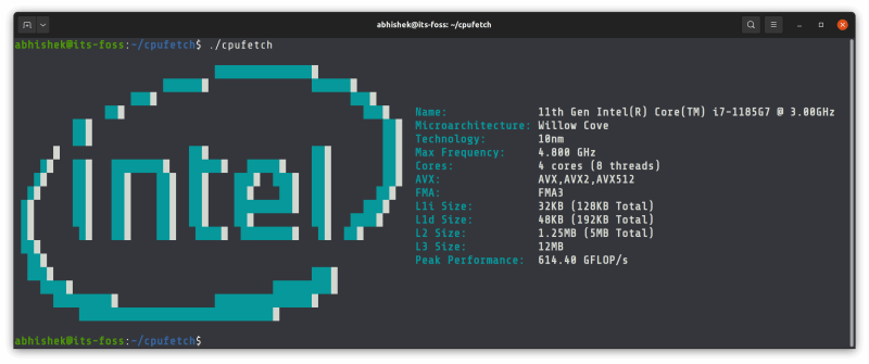 cpufetch showing CPU information in Linux terminal for itsfoss