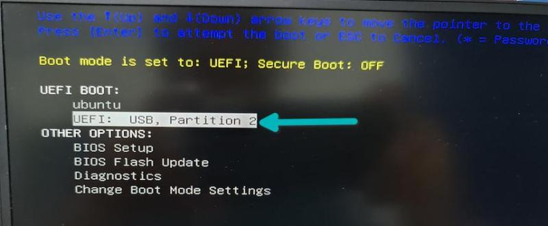 select boot from live usb