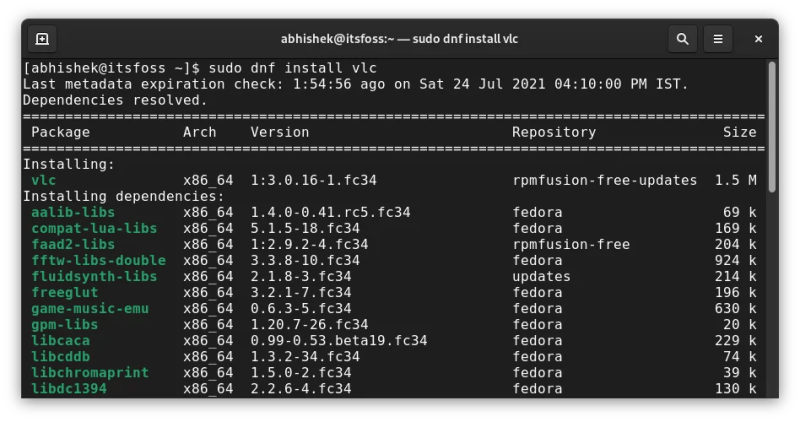 Installing VLC in Fedora with DNF command
