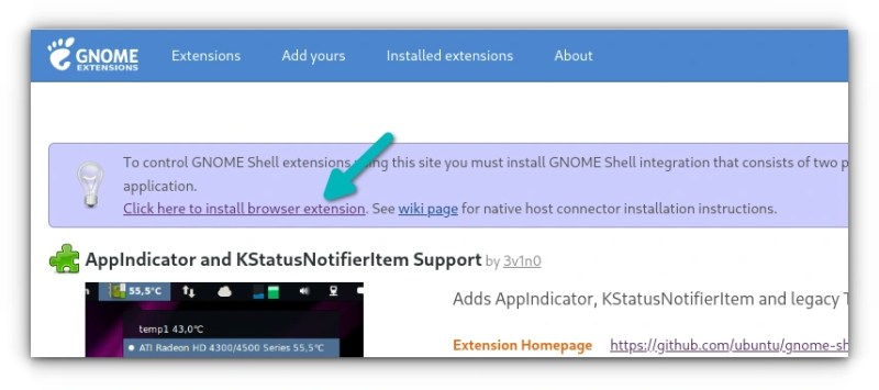 installing gnome extension add on