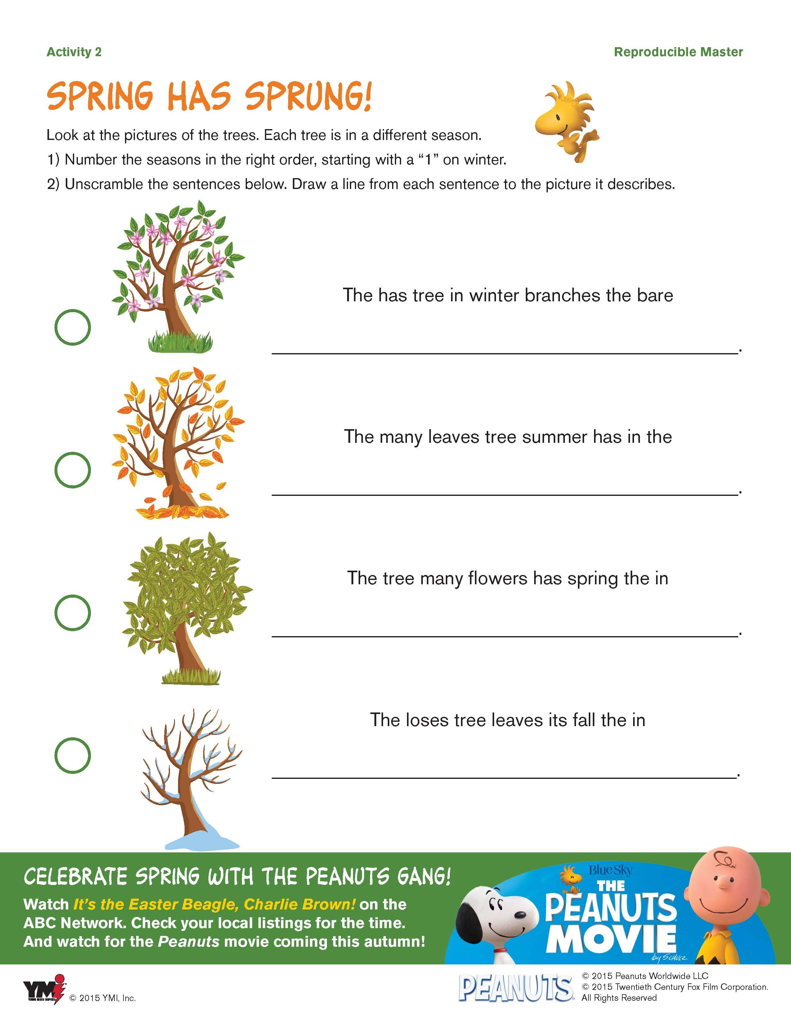 Free Spring Snoopy Springtime Printable Activity Sheets
